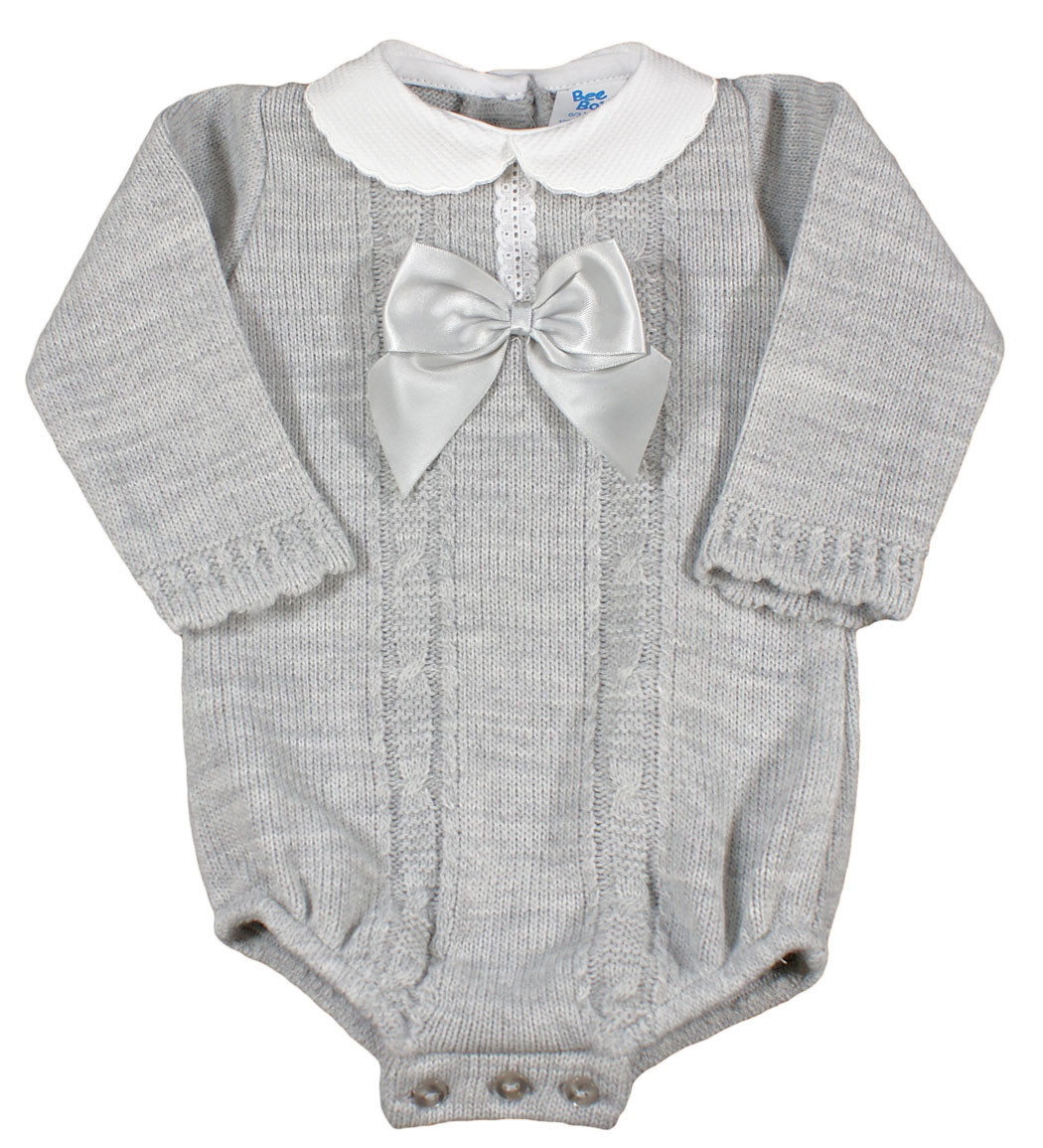 Spanish Style Long Sleeve Baby Grey Knitted Romper Bow & Collar