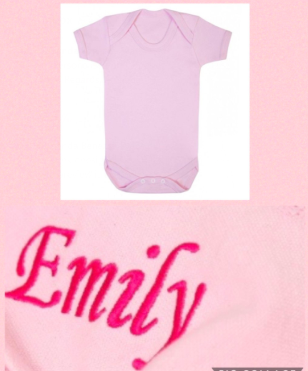Personalised Pink Cotton Short Sleeve Bodysuit / Vest