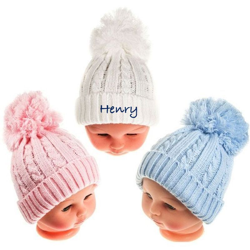 Personalised Baby Hat with Pom-Pom