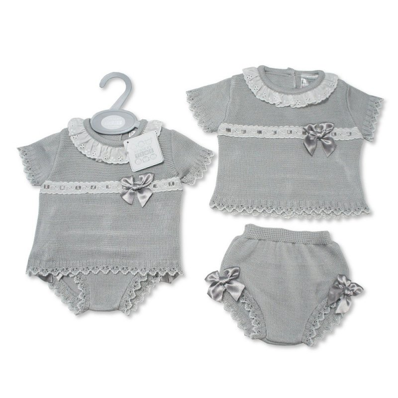 Spanish Style Baby Grey Knitted 2 pc Set with Bows