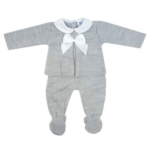 Spanish Style Baby Grey Knitted Long Sleeve & Bottoms 2 Pc Set
