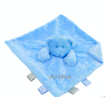 Boys Personalised Plush Bear Comforter with tags/ribbons