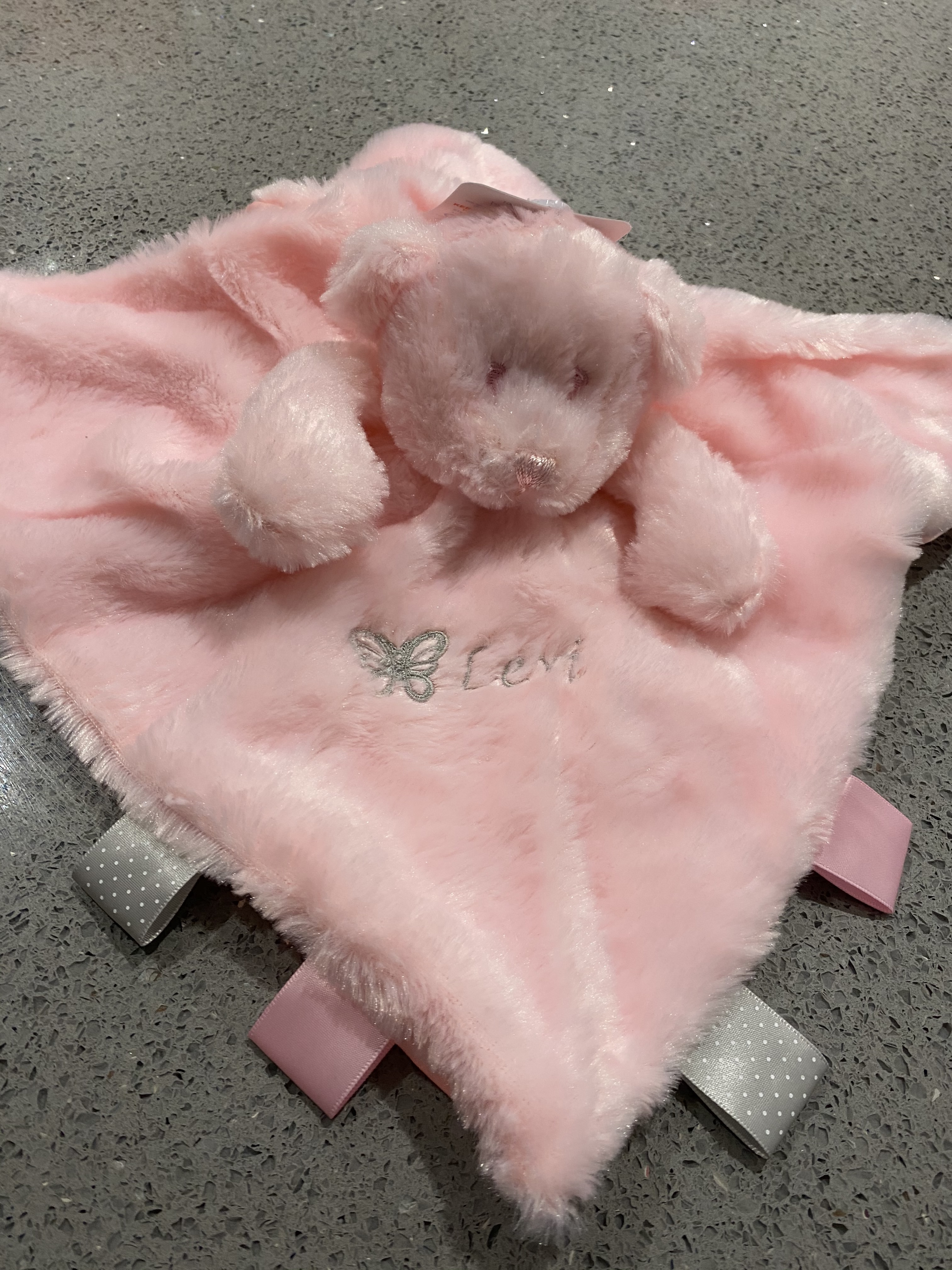 Pink Personalised Plush Bear Comforter with tags/ribbons